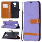 Color Splicing Jeans Cloth Skin Leather Phone Shell for Xiaomi Redmi Note 9/Redmi 10X 4G – Purple