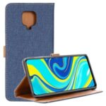 Oxford Cloth Flip Leather Wallet Phone Shell for Xiaomi Redmi Note 9S/Note 9 Pro/Note 9 Pro Max – Dark Blue