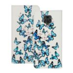 Pattern Printing Case Leather Wallet Cell Phone Cover for Xiaomi Redmi Note 9S/9 Pro/9 Pro Max – Blue Butterflies