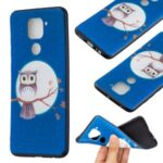 Printing Embossed TPU Phone Case for Xiaomi Redmi Note 9/Redmi 10X 4G – Owl on the Branch