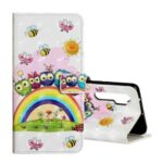Pattern Printing Light Spot Decor Wallet Flip Leather Phone Cover for Xiaomi Mi Note 10 Lite – Rainbow and Owls