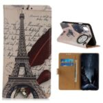 Pattern Printing PU Leather Wallet Stand Phone Shell for Xiaomi Redmi 9A – Eiffel Tower and Letters