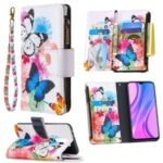BF03 Pattern Printing Zipper Wallet Leather Phone Cover for Xiaomi Redmi 9 – Blue and White Butterfly