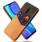 Cloth + PU Leather Coated PC Cover for Xiaomi Redmi 9 – Brown