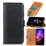 Contrast Color Litchi Surface Leather Shell for Xiaomi Redmi 9C – Black