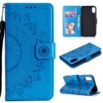 Imprint Flower Flip Leather Wallet Phone Cover for Xiaomi Redmi 9A – Blue