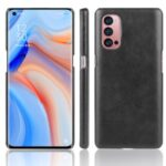 Litchi Skin Leather Coated PC Shell for Oppo Reno4 Pro 5G – Black