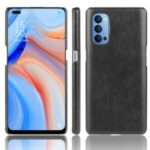 Litchi Skin PU Leather Coated PC Unique Shell for Oppo Reno4 5G – Black