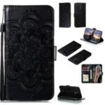 Imprint Surface Mandala Flower Leather Cover for Nokia 2.3 – Black
