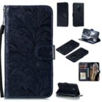 Imprinted Lace Flower Pattern Leather Shell for Nokia 5.3 – Dark Blue
