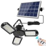 60 LED Solar Light 3 Lamp Head Adjustable Brightness with Remote Control Waterproof Solar Garden Light