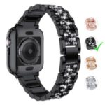 Aluminum Alloy Watch Strap Replacement Rhinestone Decor for Apple Watch Series 5/4 44mm / Series 3/2/1 42mm – Black