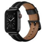 Top Layer Genuine Leather Watch Strap Band for Apple Watch Series 5/4 44mm, Series 3/2/1 42mm – Black