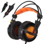 SADES A6 USB 7.1 Stereo Wired Gaming Headphones Over-Ear Headset with Mic Voice Control for Laptop Computer – Black