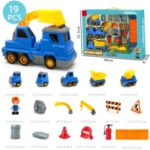 19 in 1 Light Music Engineering Car Vehicles Truck Toy Kids Magnetic Puzzle Toy