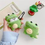 Cartoon Crocodile Shaped Silicone Bluetooth Earphone Case for Apple AirPods with Wireless Charging Case (2019) / AirPods with Charging Case (2019) (2016)