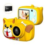Children Mini Cartoon Digital Camera 2.4 Inch IPS Screen Dual Camera Lens Rechargeable 26MP 1080P Kids Video Camera Camcorder – Yellow Dog
