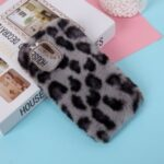Leopard Style Soft Fur Coated TPU Case for iPhone 12 Pro Max 6.7 inch – Black