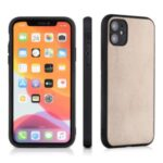 Anti-fingerprint Genuine Leather Coated PC + TPU Hybrid Cover for iPhone 12 Pro Max 6.7 inch – Gold