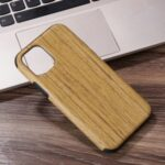 Wood Texture PU Leather Coated Flexible TPU Phone Shell for iPhone 12 5.4 inch – Khaki