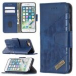 Color Matching Crocodile Skin Leather Cover for iPhone SE (2nd Generation)/8/7 – Blue
