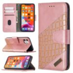 Color Matching Crocodile Skin Shell Stylish Leather Cover for iPhone 11 6.1 inch – Rose Gold