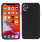 Contrast Color Button TPU Case Shell with Soft Lint Inner for iPhone 11 6.1 inch – Black