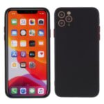 Contrast Color Button TPU Cover Case with Soft Lint Inner for iPhone 12 Max/Pro 6.1 inch – Black