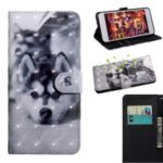 Light Spot Decor Patterned Leather Wallet Case for iPhone 12 5.4 inch – Black and White Wolf