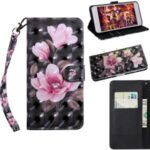 Light Spot Decor Patterned Leather Wallet Stand Case for iPhone 12 Max/Pro 6.1 inch – Pink Flowers