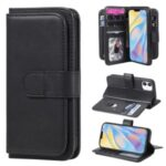 Multi-function 10 Card Slots Leather Wallet Case for iPhone 12 5.4 inch – Black