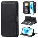 Multi-function 10 Card Slots Leather Wallet Stand Case for iPhone 12 Max/Pro 6.1 inch – Black