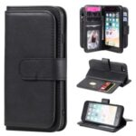 Multi-function 10 Card Slots Wallet TPU+PU Leather Phone Shell for iPhone 6/6s/7/8/SE (2nd Generation) – Black
