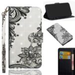Light Spot Decor Pattern Printing Wallet Stand Leather Shell with Strap for iPhone 12 Pro/12 Max 6.1 inch – Lace Flower