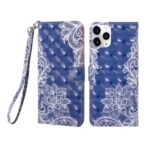 Pattern Printing Light Spot Decor Leather Protective Case for iPhone 12 Max 6.1 inch / 12 Pro – Lace Flower