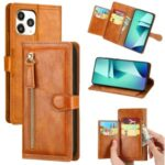 Zipper Pocket Wallet Leather Cell Phone Shell for iPhone 12 5.4 inch – Brown