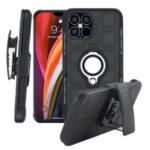 Geometric Pattern TPU PC Hybrid Shell with Magnetic Car Mount Ring Holder and Belt Clip for iPhone 12 Pro Max 6.7 inch – Black