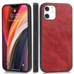 Phone Shell Crazy Horse Texture PU Leather Coated TPU Case for iPhone 12 5.4 inch – Red