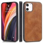 Phone Shell Crazy Horse Texture PU Leather Coated TPU Case for iPhone 12 5.4 inch – Brown
