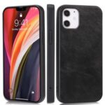Phone Case Crazy Horse Texture PU Leather Coated TPU Shell for iPhone 12 Max/Pro 6.1 inch – Black