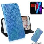 Flower Pattern Magnetic Leather Shell for iPhone 12 5.4 inch – Blue