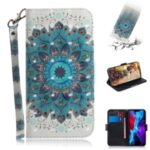 Light Spot Decor Stylish Printing Wallet Case Stand Leather Cover for iPhone 12 Max/Pro 6.1 inch – Flower