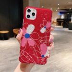 Flash Powder Pattern Printing TPU Cover for iPhone 11 Pro Max 6.5 inch – Red Flower