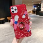 Kickstand Flash Powder Pattern Printing TPU Cover for iPhone 11 Pro 5.8 inch – Red Flower