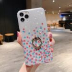 Flash Powder Pattern Printing TPU Case with Ring Kickstand for iPhone 11 Pro Max 6.5 inch – Colorful Stars