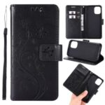 Imprint Butterfly Flower Leather Case with Strap for iPhone 12 5.4 inch – Black