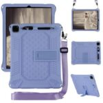 Kickstand PC Soft Silicone Case with Hanging Rope for iPad Pro 12.9-inch (2020) / iPad Pro 12.9-inch (2018) – Purple