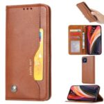 Classic Auto-absorbed Leather Wallet Phone Shell for iPhone 12 Pro Max 6.7 inch – Brown