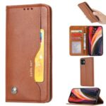 Classic Auto-absorbed Leather Wallet Case with Stand for iPhone 12 5.4 inch – Brown