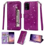 Flash Powder Style Leather Cover with Strap for Samsung Galaxy Note 20 Plus/Note 20 Pro – Purple